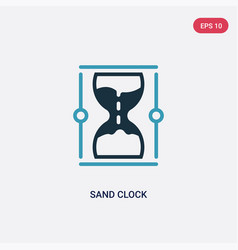 Two color sand clock icon from web navigation vector