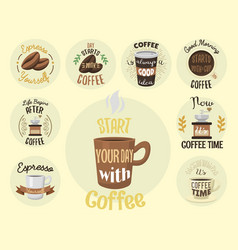 Vintage coffeeshop logo text labels and vector