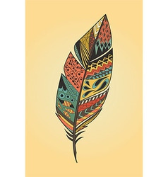 Vintage tribal ethnic hand drawn colorful feather vector