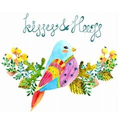 Watercolor beautiful bird and flowers vector