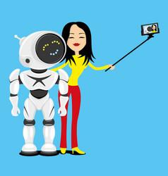 Woman and robot make a photo vector