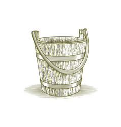 woodcut wooden farm bucket vector image