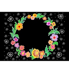Wreath from abstract flowers vector image