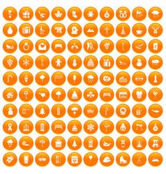 100 winter holidays icons set orange vector image vector image