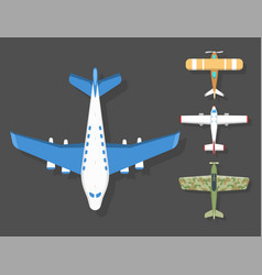Airplane top view and aircraft vector