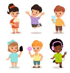 children set cute kids with popcorn smartphone vector image vector image
