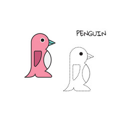 coloring book penguin vector image vector image