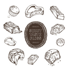 set of hand-drawn sketches bitten vector image vector image