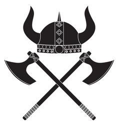 Viking axe and shield viking helmet medieval vector