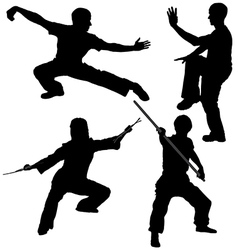 Kung Fu Fighter Silhouette vector image vector image