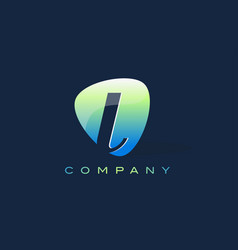 l letter logo oval shape modern design vector image vector image