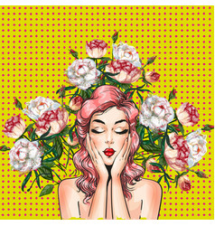 pop art pin-up girl with peony flowers vector image