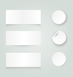Set of white paper stickers on white background vector image vector image