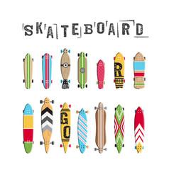 set skateboard collection vector image vector image