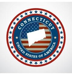 Vintage label Connecticut vector image