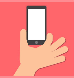 hand holds a smart phone in the vertical position vector image