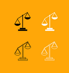 law scale black and white set icon vector image