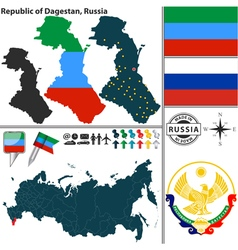 Map of Republic of Dagestan vector image