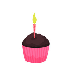 birthday cupcake or muffin with burning candle vector image