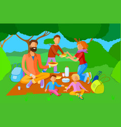 family on a picnic vector image
