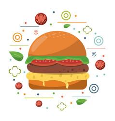 fast food hamburger cheese tomato lettuce poster vector image