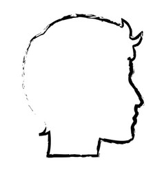 sketch profile head man character vector image
