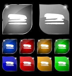 Stapler and pen icon sign set of ten colorful vector