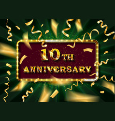10 anniversary gold numbers with golden confetti vector image