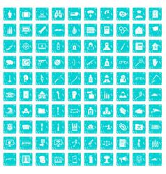 100 violation icons set grunge blue vector