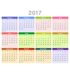2017 year annual calendar Monday first English vector image vector image