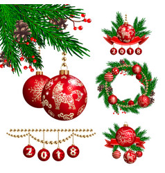 2018 new year and christmas decoration vector image
