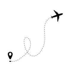 airplane line path and start point on white vector image