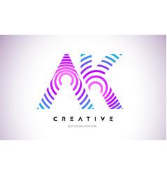 Ak lines warp logo design letter icon made vector