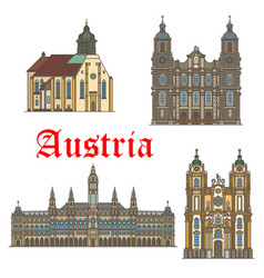 Architecture landmarks of austria icons vector