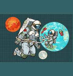 Astronaut mother and child on planet earth vector