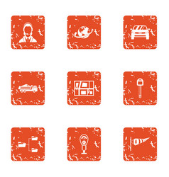 Auto penalty icons set grunge style vector