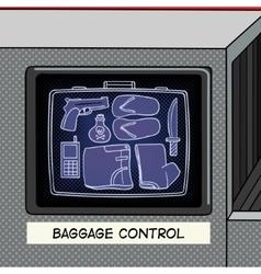 Baggage control pop art style vector image