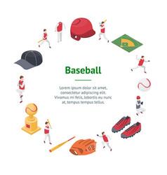 baseball game sport signs 3d banner card circle vector image