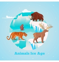 Beasts ice age round design vector