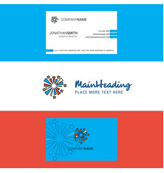 beautiful fireworks logo and business card vector image