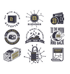 Blockchain bitcoin crypto currencies emblems and vector