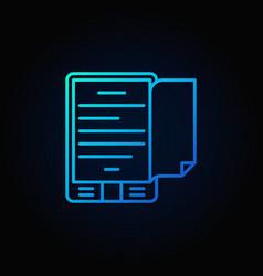 Blue e-book reader concept icon vector