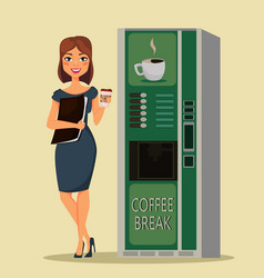 Business woman drinking coffee near coffee vector