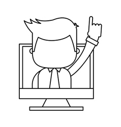 Businessman funny with computer character icon vector