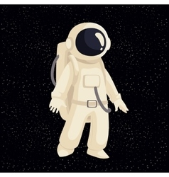 Cartoon astronaut in open cosmos vector