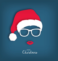 Christmas girl in the hat of santa claus vector