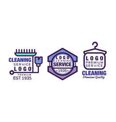 cleaning service logo template with clothes hanger vector image