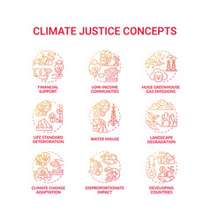 Climate justice concept icons set vector