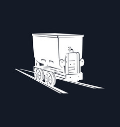 Coal mine trolley on a black background vector