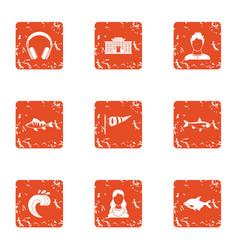 Coastal path icons set grunge style vector
